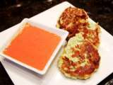 Recipe Clean eating fish fritters with a roasted red pepper malt vinegar dipping sauce