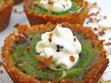 Recipe Kiwi tartlets in coconut almond shells with lime whipped cream
