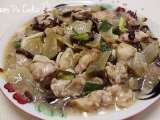Recipe Steam chicken breast meat with char choy (chinese pickled mustard root)