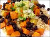 Recipe Cuban style sweet potatoes, yams and black beans with pineapple salsa