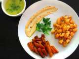 Recipe Langostinos with a tarragon lemon butter dip, spicy mayo, and sautéed carrots
