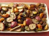 Recipe Roasted potatoes, carrots, parsnips and brussels sprouts