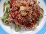 Recipe Red dragon fruit & green tea pasta with red wine sauce