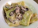 Recipe Shrimp mousse ravioli with shiitake cream sauce