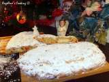 Traditional german christmas stollen with almond marzipan