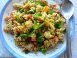 Recipe Peppers, carrot, and tomato upma (savory semolina porridge)