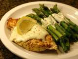 Recipe Lemon pepper grilled chicken with cream sauce and asparagus