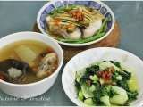 Recipe [$20 Budget Meal] Winter Melon, Woodear and Pork Ribs Soup, Stir-fry Nai Bai and Steamed Threadfin With Zha Cai