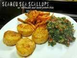 Recipe Dinner: Sea Scallops, Tabbouleh, and Sweet Potato Fries
