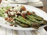 Recipe Roasted asparagus with bacon and feta cheese