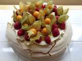 Recipe Raspberry and physalis pavlova with passion fruit coulis