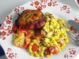 Recipe Bbq chicken with bacon, corn, hominy and tomato salad