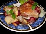 Recipe Fast and simple baked chicken with apple and strawberry