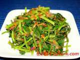 Recipe Stir-fried sweet potato leaves in chilli