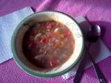 Recipe Turkey soup with tomatoes and herbs.