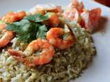 Recipe Kolambi bhaat/prawn rice with orange raita