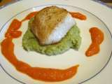 Recipe Pan-fried sea bass with roasted red pepper sauce and broccoli puree (visit site!)