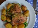 Herb roasted chicken thighs wth potatoes and green peas