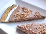 Recipe Chocolate chip cookie pizza topped with toffee.
