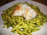 Recipe Nut free salad pesto pasta with a pan fried cod loin