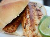 Recipe Blackened tilapia sandwich with cilantro lime mayonnaise and baked red potato chips