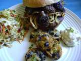 Recipe Morel mushroom stuffed teriyaki burgers and morel tater tots, with roasted garlic