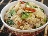 Recipe Fried rice with asian mustard green and shrimps