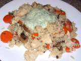 Recipe Chicken and rice with carrots, mushrooms, and dill yogurt sauce
