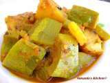 Recipe Chichinge aloor dalna( snake gourd potato curry)