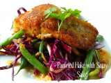 Recipe Asian recipes - panfried hake with spicy satay salad