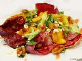 Recipe Grilled mango and pecan salad with fetta, avocado and sweet chilli-raspberry dressing