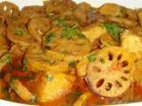 Recipe Curried lotus roots with potatoes - kamal kakdi aur aloo ki subzi