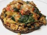 Tempeh stuffed portabella mushrooms