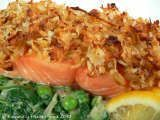 Recipe Salmon with a parsnip & coconut crust served with creamed spinach & peas
