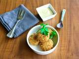 Recipe Fried chickpea patties with sesame seed sauce, revithokeftedes me tahini saltsa