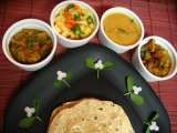 Recipe Chapathi meal with dhal, subzi, salad and roasted curry