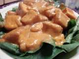 Recipe Tofu praram long song (tofu with peanut sauce on a bed of spinach)