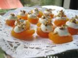 Recipe Turkish dried apricots topped with lavender mascarpone and toasted pecans