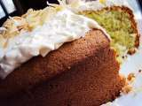 Recipe Pandan sponge cake with shredded coconut frosting