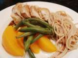 Recipe Poached chicken breast with nectarine green bean salad