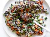 Recipe Rice salad with vegetables, pumpkin seeds, pickled ginger and nori