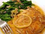 Recipe Chicken piccata & wilted spinach with rhubarb