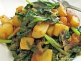 Recipe Fried spinach with potatoes/aloo palak