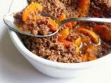 Recipe Spiced apricot, almond and cacao crumble