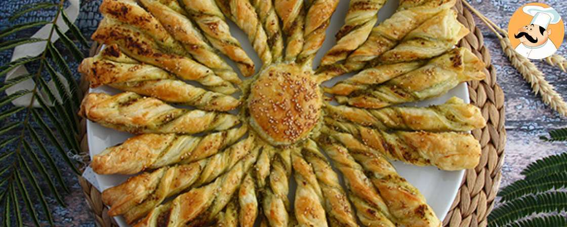 Flaky star bread with pesto