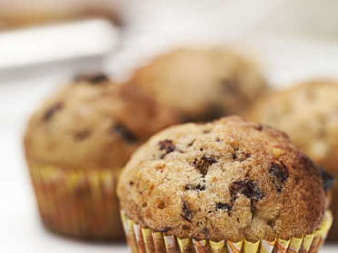 Mini banana chocolate chunk muffins