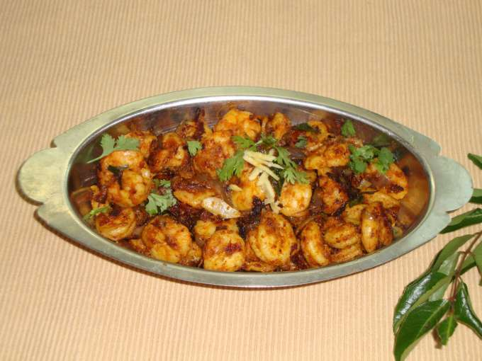 Ginger prawn fry/roast