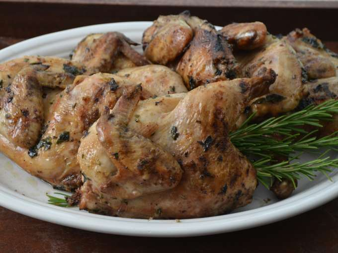 Grilled cornish hens with herbs