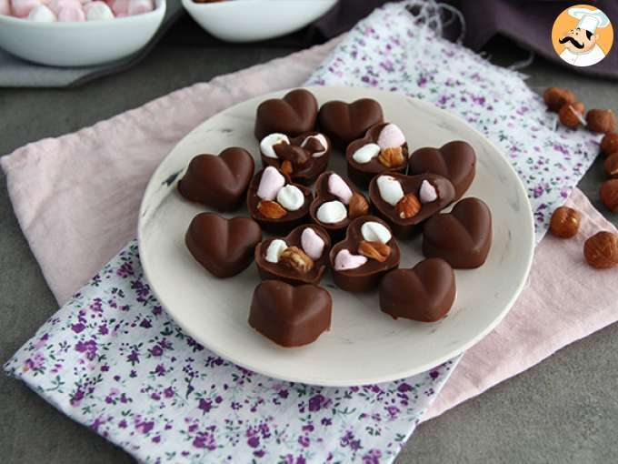 Homemade chocolates with marshmallows and nuts