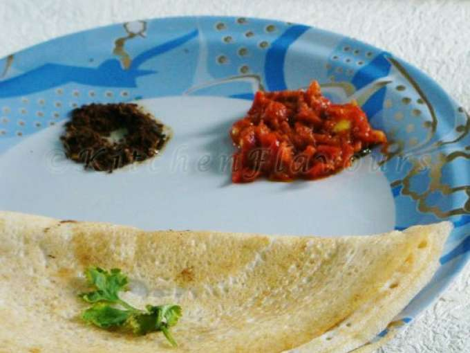 Dosa - a south indian crepe with instant tomato chutney
